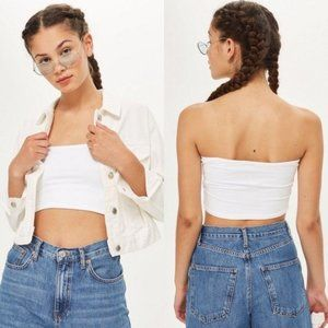 3/$15 TOPSHOP White Ribbed Crop Top Tube Top